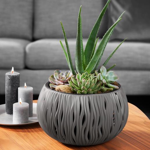 Pot de fleurs « Vagues de sable » Design en toute légèreté, d'une beauté durable. En polypropylène robuste, recyclable.
