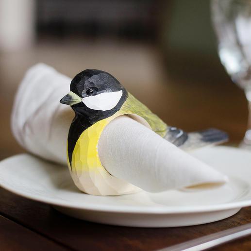 Ronds de serviettes motifs d'oiseaux, lot de 6 pièces Vos amis à plumes - sous la forme de charmants ronds de serviettes en bois faits main.