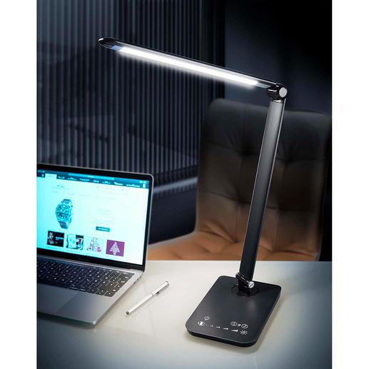 Lampe LED dynamique 5 modes de luminosité pour travailler, lire, se détendre. Permet également une utilisation sans fil.