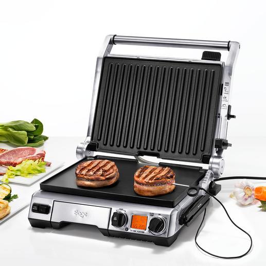 Smart Grill™ Pro Mesure constamment la température à cœur, adapte automatiquement la durée et la température de cuisson et indique le temps de repos optimal.