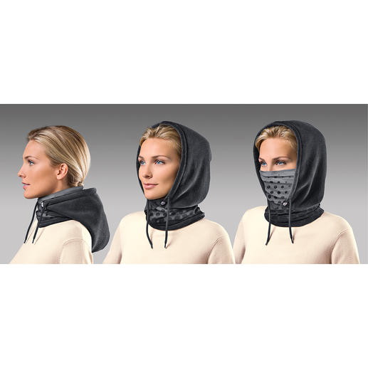 Enfilez-le et vous avez une écharpe douillette. En cas de besoin, la chaude capuche polaire protège la tête et les oreilles... ainsi que le nez et la bouche avec l'empiècement en microfibre...