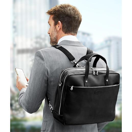 Les sangles réglables en longueur permettent de transformer la sacoche pour portable en sac à dos.