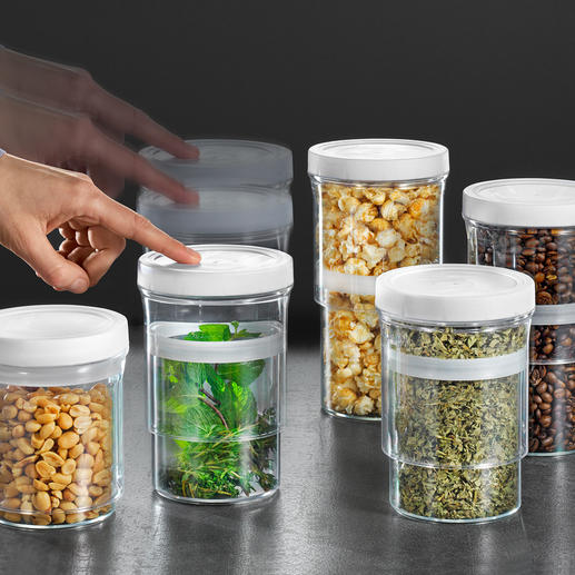 Boîtes de conservation Multi-Size, lot de 5 pièces Gain de place. Et protection des aliments contre l'oxygénation et l'humidité.