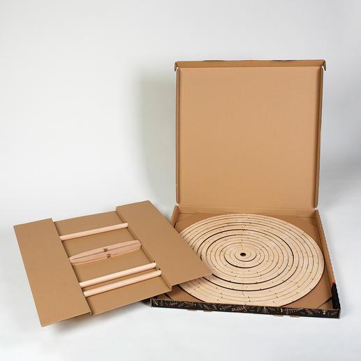 Rangement gain de place à plat, dans un carton de 5cm d'épaisseur.