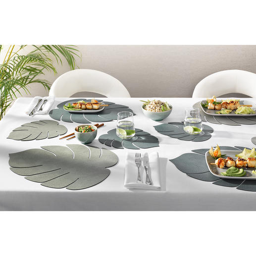 Set de table « Monstera », lot de 2 pièces Esprit jungle pour la table et le buffet : sets de table en forme de feuille tropicale.
