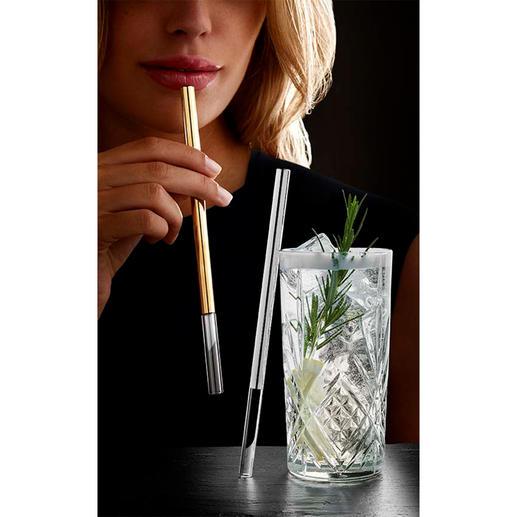 Paille en verre, version luxe En verre robuste longue durée, réutilisable et neutre au goût. Pour boissons chaudes ou froides.