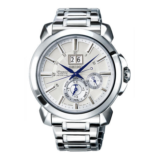 Montre homme Premier Kinetic Perpetual SNP159P1 de Seiko - Fonction Auto Relay à économie d'énergie : plus besoin de tourne-montre, de remonter manuellement ni de re-régler la montre.