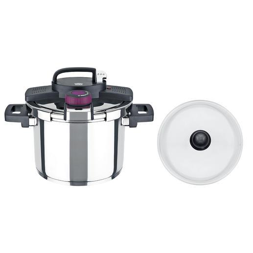 Grâce à un système de verrouillage pratique d'une seule main, le couvercle pour cuisson vapeur s'ouvre très facilement.