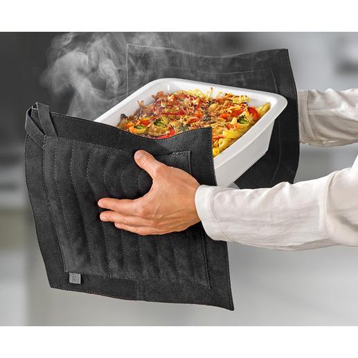 Maniques en cuir XXL Protègent toute la surface de la main sans glisser et isolent parfaitement de la chaleur.