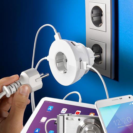 Prise à 4 ports USB 4 ports d'alimentation USB à disposition et la prise secteur toujours libre.