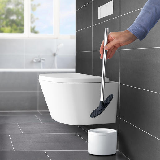 Balai de toilette en silicone Beaucoup plus souple et hygiénique que les brosses de toilette conventionnelles.