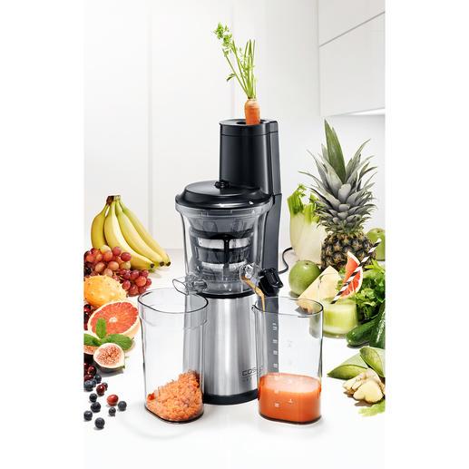 Extracteur de jus SJW 500 Caso Ultra compact : l'extracteur à jus avec ouverture XXL pour les fruits entiers.