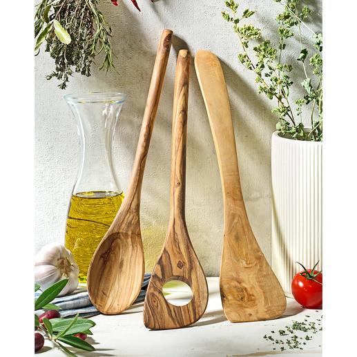 Couverts en bois d'olivier, 3 pièces Fait main et durablement esthétique. Préserve les revêtements antidérapants sensibles.