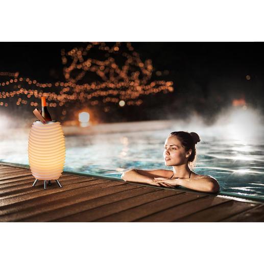 Lampe LED sonore Synergy Pro Une lampe stylée, un son plein à 360 ° et des boissons qui restent bien fraîches, le tout réunit dans un bel objet design.