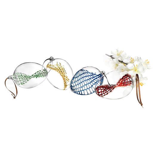Œuf de Pâques en maillage de verre, lot de 4 pièces Un art de soufflage de verre suprême pour votre décoration de Pâques. Chaque pièce est unique.