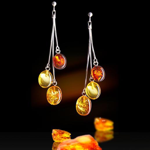 Boucles d'oreilles ambre Des pièces uniques précieuses, témoignage de l'histoire de la terre, délicatement serties d'argent massif.
