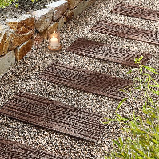 Dalles recyclées, lot de 4 pièces Plus légères que des vraies pierres véritables et plus durables que le bois.