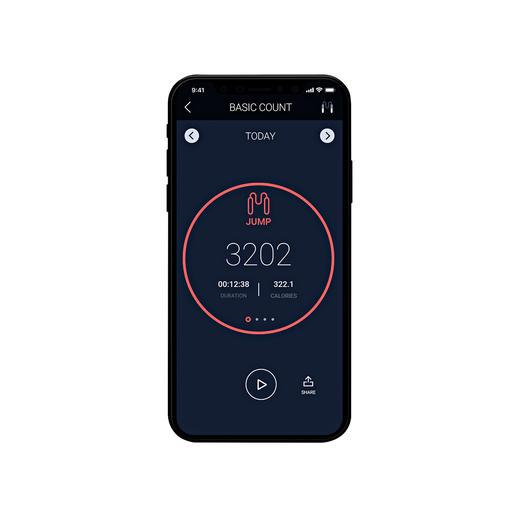 L'application pour smartphone* affiche, outre le nombre de tours, le temps écoulé et les calories brûlées.
