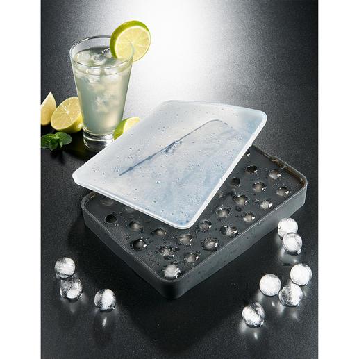 Bac à billes de glaçons Des perles de glace étincelantes faciles à réaliser, préparées dans un moule flexible en silicone platine.