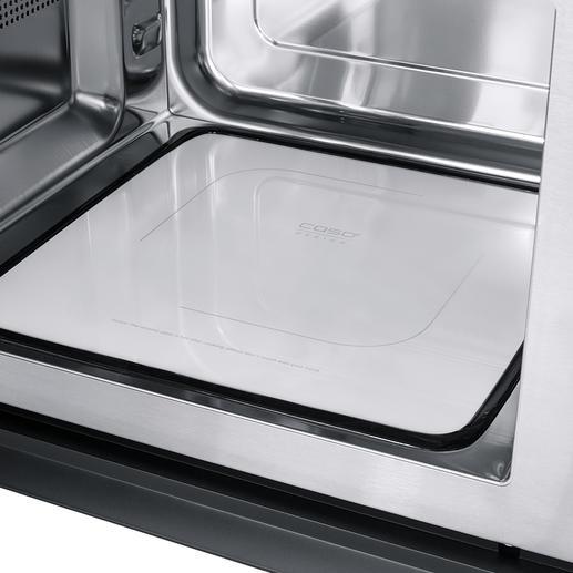 La base réflectrice en céramique répartit les micro-ondes de manière uniforme dans la chambre de cuisson de 25litres et permet de gagner de la place.