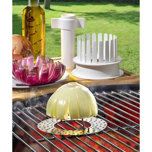 Set « Blooming Onions » (fleurs d'oignon), lot de 3 pièces « Fleur d'oignon » sur barbecue – un plaisir irrésistible pour le palais et les yeux.