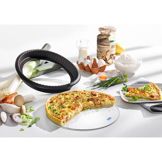 Moule à tarte en silicone avec fond en verre Cuisson parfaite. Aucun résidu ne reste collé. Et servi en toute élégance à même le plat.