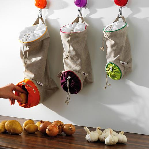 Sacs à provisions, lot de 3pièces Le lieu de conservation idéal pour vos pommes de terre, oignons et ails : protégé de la lumière, aéré et à portée de main.