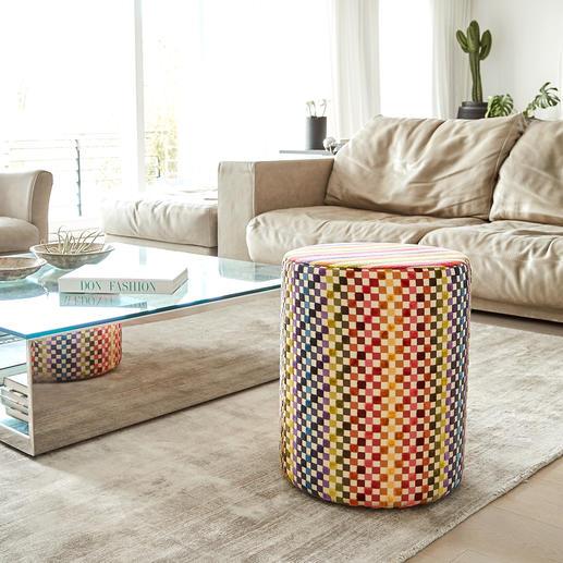 Tabouret Missoni Un feu d'artifice de couleurs qui combine habilement rayures et carrés. Et un accroche-regard exclusif.