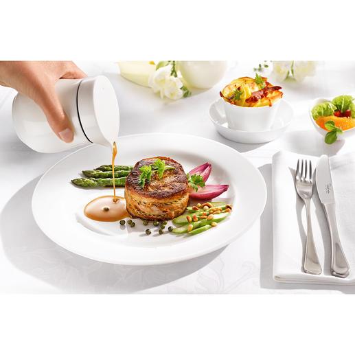 Saucière thermos De la porcelaine d'os fine de Chine (Fine Bone China) à double paroi garde vos sauces au chaud plus longtemps.