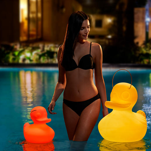 Lampe « The Duck Duck Lamp™ » Alimentée par une batterie, elle offre un jeu de lumières fascinant. Pour les amateurs de canards en plastique  en intérieur et en extérieur, sur l'étang ou dans la piscine.