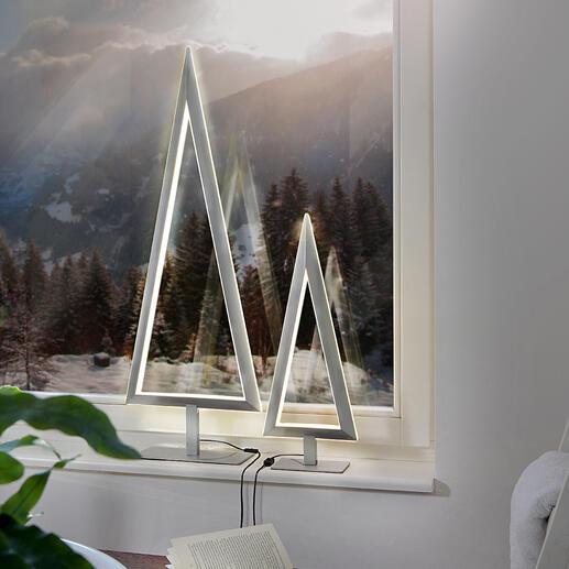 Sapin LED Le sapin métallique avec un contour lumineux en LED doublement décoratif et au design minimaliste. Par Villeroy & Boch.