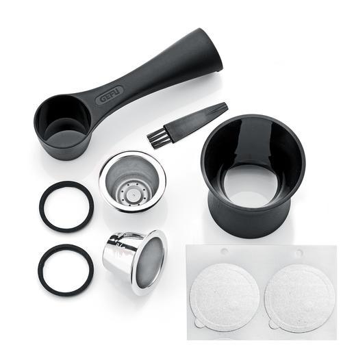 Le set de 8pièces contient 2capsules en acier inoxydable, une cuillière doseuse à café avec tamper, 80opercules autocollantes, 2bagues d'étanchéité de rechange, une petite brosse de nettoyage.