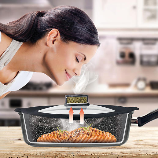 Couvercle de poêle/casserole SmellWell Sans doute la plus petite « hotte » du monde. L'ingénieux couvercle Smell Well STONELINE® absorbe les odeurs désagréables de cuisson.