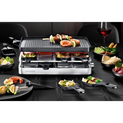 Appareil à raclette polyvalent RC 1400 Raclette 8 personnes, gril de table et crêpière : le tout réuni dans un seul appareil élégant.