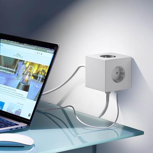 Cube de prises design «Square» Cet objet au design primé met fin aux blocs multiprises poussiéreux et aux câbles emmêlés.