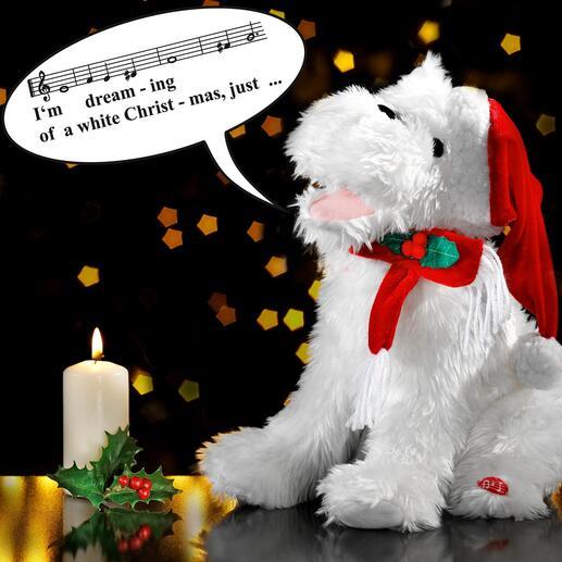 Chien de Noël chantant Cet adorable chien de Noël conquiert le cœur de tous avec son chant mélodieux.