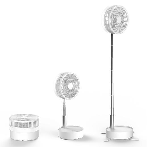 Réglable en hauteur sans paliers. Selon les besoins, ventilateur de table ou ventilateur lampadaire.
