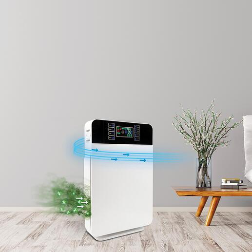 Purificateur d'air «AirPurifier» 6-en-1 Technologie de filtre puissance 6 très efficace – pour un air pur jusqu'à 99 %. Dans un design élégant à un prix très raisonnable.