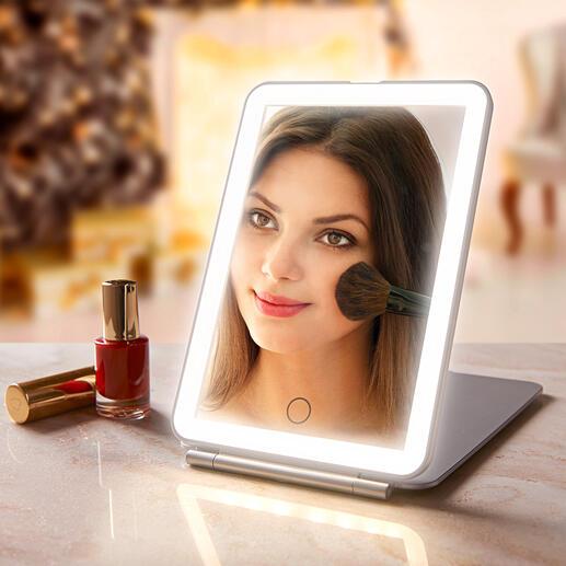 Miroir cosmétique pliable Miroir extra large. Eclairage optimal. Design élégant et plat. Pour un maquillage parfait à la maison et en voyage.
