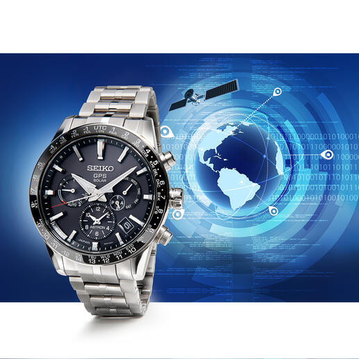Montre Astron GPS Solar Dual Time cal. 5X53 La « Seiko Astron calibre 5X53 » : fonctionne à l'énergie solaire et non à piles, pilotage précis par GPS, fonction heure mondiale.