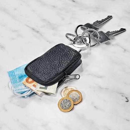 Porte-clés et porte-monnaie de poche Le petit porte-monnaie en cuir est idéal pour de la petite monnaie, un jeton de caddie, des masques …