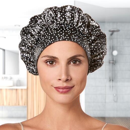 Bonnet de douche TIARA® Il garde tout au sec de manière fiable, préserve votre coiffure et ne laisse pas de marques sur la peau.