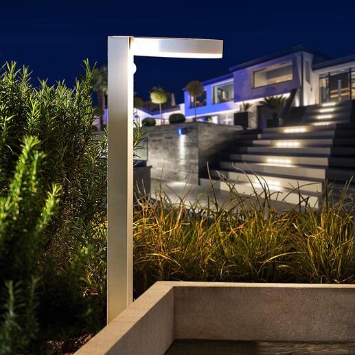 Lampe solaire intelligente au design moderne Plusieurs modes de luminosité variables, et détecteur de mouvements et de crépuscule. 40 LED blanc chaud. Design moderne.