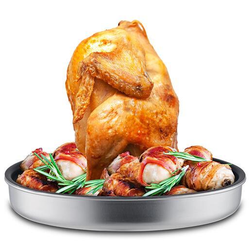 Cuit-poulet multitâche Le cuit-poulet éprouvé qui, grâce à une coupelle de récupération et une pointe de cuisson extralarges, est encore plus polyvalent.