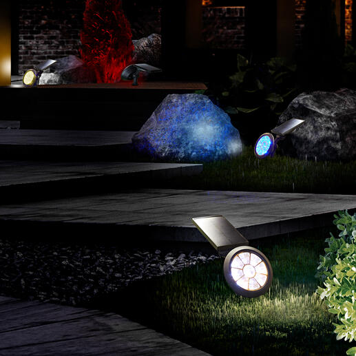 Spot de jardin solaire avec changement de couleur