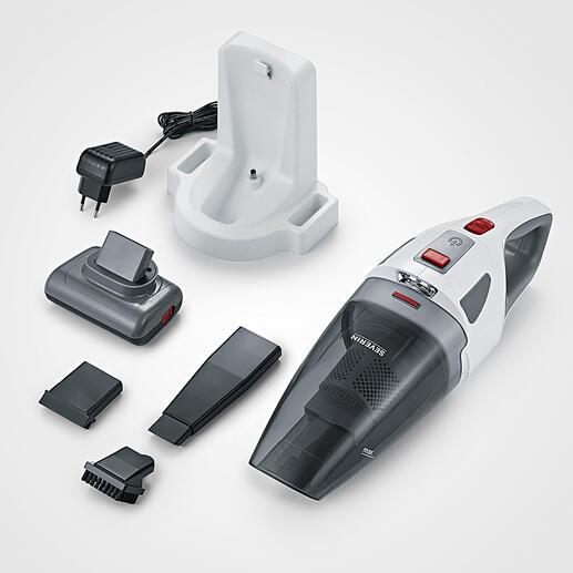 L'aspirateur à main sans fil S'Power® est livré avec: un support mural et une station de charge 230V, une brosse rotative turbo, une buse d'aspiration de 13cm, un embout en caoutchouc pour les liquides et un embout à brosse pour les claviers ou les meubles, par ex.