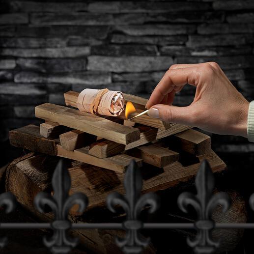 Un allume-feu enflamme sans peine une grosse quantité de charbon ou de bois dans une cheminée ou un feu de camp.