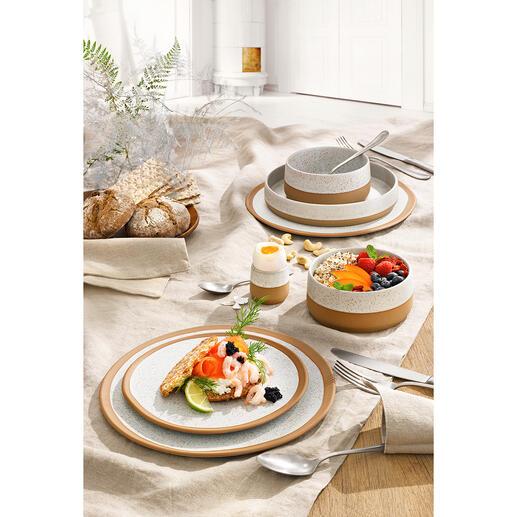 Vaisselle Caja, chaque pièce en lot de 6 3 tendances en une vaisselle : design nordique, rayonnement artisanal et grès naturel. Par ASA Selection/Allemagne.