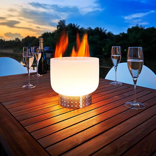 Coupe à feu de table en verre La coupe à feu en verre de quartz : spectaculaire sur une table ou une terrasse.