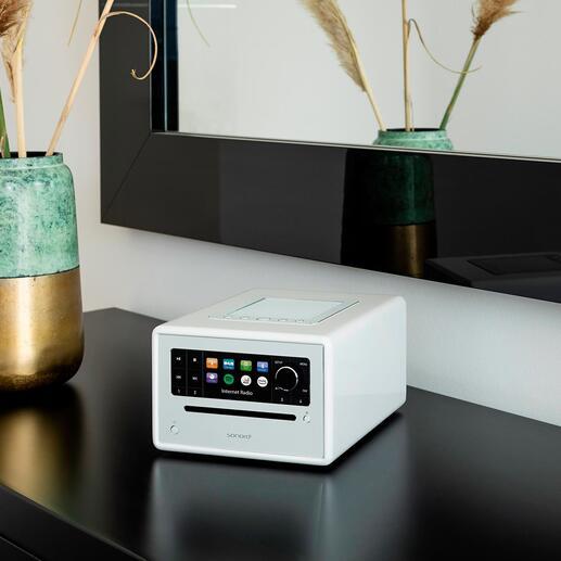 Système audio compact sonoro ELITE Une expérience sonore à 360°, dans un format compact. Une qualité de son impressionnante via wifi et Bluetooth. Au design tendance au vernis piano noir.